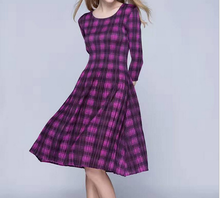 017 Colorful Plaid Patchwork Bodycon A Line Dress Women Elegant Long Sleeve Work Office Party Wear Big Plus Size Lady Dresses