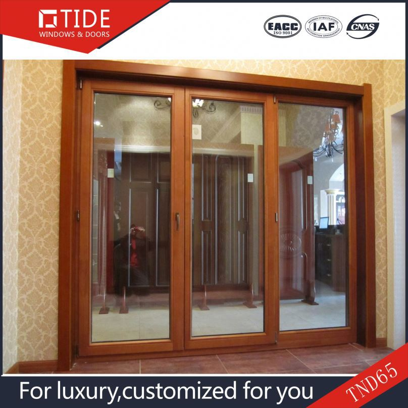 2016 new design aluminum wood Frame tempered glass window