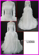 2014 real sample ruffled vintage lace Organza long sleeves ball wedding gown/bridal dress with beading sash/belt guangzhou L0088