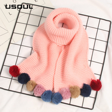 Autumn and Winter Solid Color keep Warm Thicken Multi-ball Children's Knitting Scarf