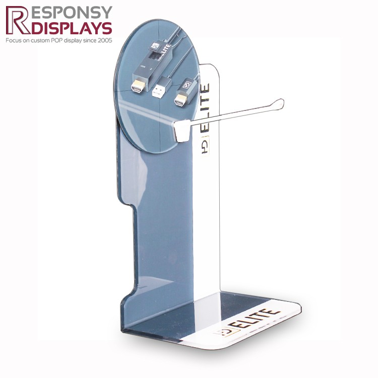 Acrylic Cell Data Cable Holder USB Charger Table Display Stand For Mobile Phone Accessaries