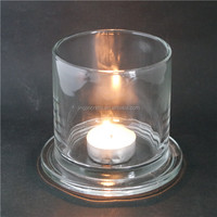 2016 new design round shape glass candle holder with base,votive glass candle container,wholesale glass candle jar with lid