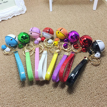 PU small promotional chrismas gifts key chain bell car decoration key ring bell for handbag accessories