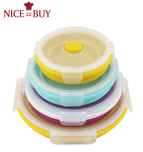 Wholesale 4 Sets Microwavable Food Storage Containers Safe leakproof Silicone Foldable Bento Round Lunch Box For kids