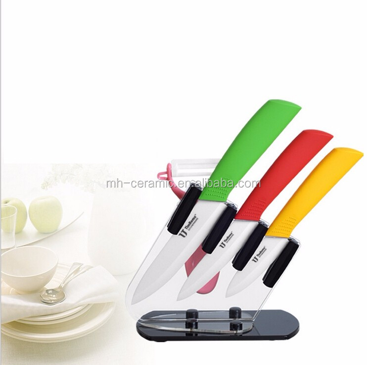 volume production sharpened kitchen knife with white blade
