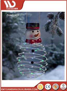 outdoor/indoor christmas snowman metal hanging with led lights, solar lighting
