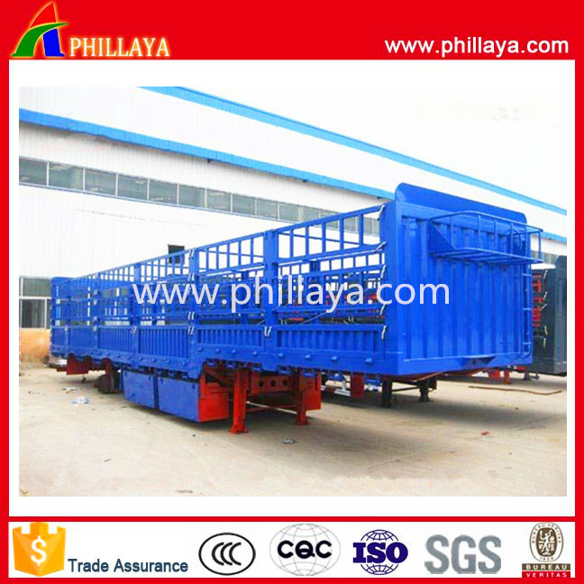 Three Axles 12 Wheelers 40 Tons cargo double deck livestock fence semi trailer for sale