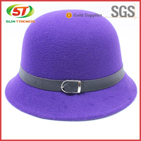 100% Wool Cheap Purple Ladies Felt Hillbilly Hat And Fedora Hats