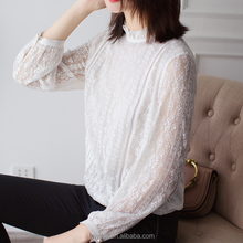 Embroider silk blouse model slim fit social shirt