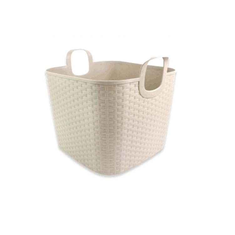 First Rate white weave plastic square basket with handle