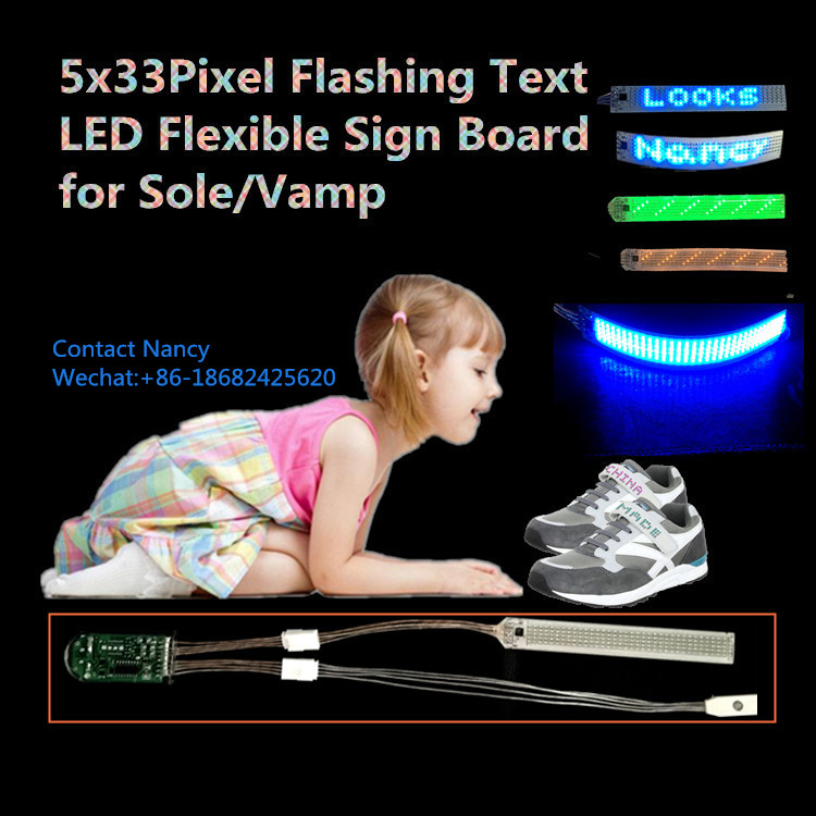 5x33Pixel Flashing Text Running Words Scrolling Messages LED Flexible Sign Board for Shoes Sole and Vamp