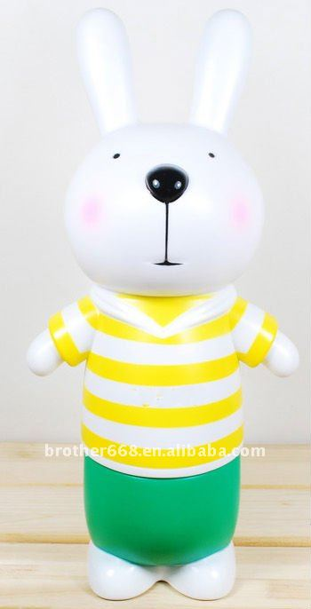 Fashion colorful slack-jawed face rabbit PVC vinyl coin bank