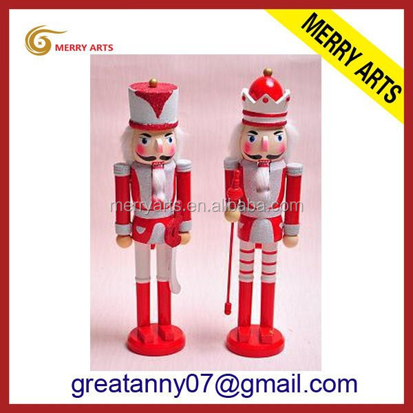 jinhua latex 20cm 7 inches american indian statues wooden nutcracker dolls in red&white