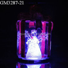 light up glass gift box with angel inside for christmas decoration