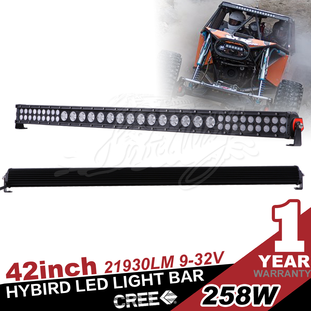 "42"" 258W Hybrid led light bar,3w 10w xp-g chip,off road 4x4 use ,five colored flood lens"