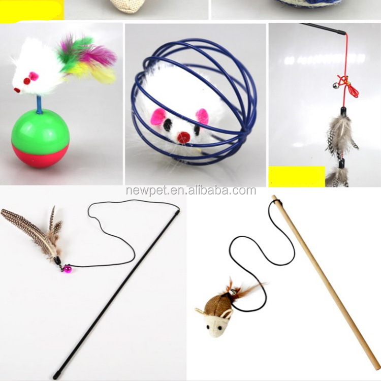 Good quality promotional kitten toys for cat rod, pole mouse cat toy feather