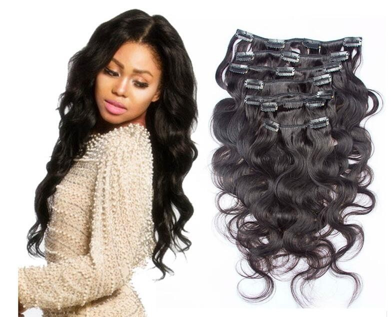 wholesale virgin unprocessed malaysian human hair curly 30inch black clip in hair extensions