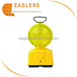 Solar yellow LED warning light for traffic cone
