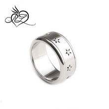 Spinning stainless steel Stars ring with diamonds, cool kinetic men's women's diamond ring