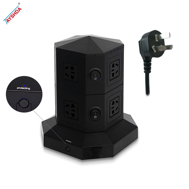New design standing power strip tower surge protector socket with usb
