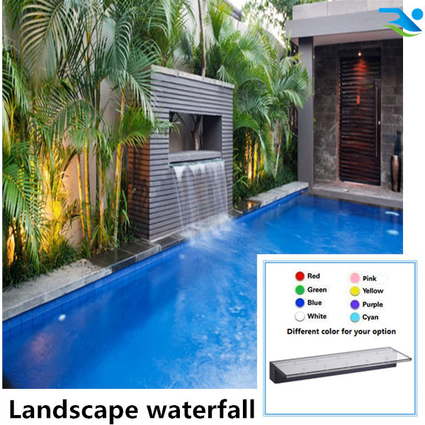 Landscape customize artificial LED waterfall,Pond spillway water curtain,pond water descent,swimming pool waterfall
