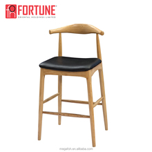 Foshan high end furniture vintage white wood bar stools with footrest