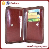 two mobile phone PU leather magnet credit card holder pouch case