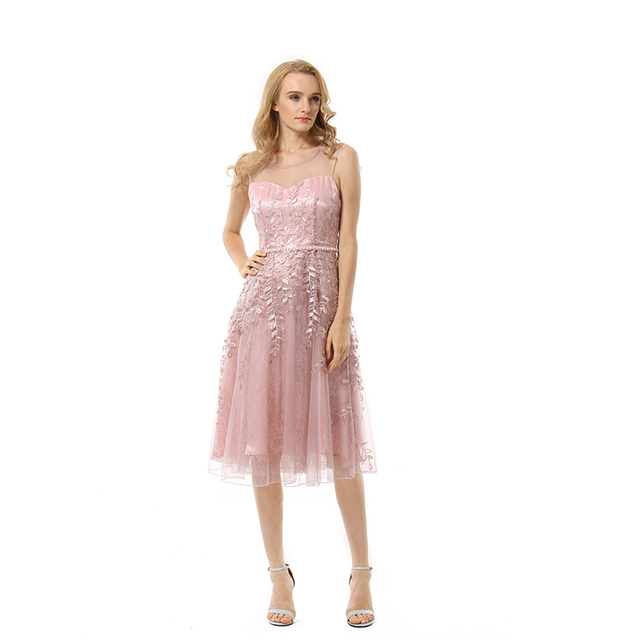 Latest princess style women transparent top sleeveless yarn pink formal midi lace dress for evening or party