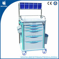 BT-AY005 Large size abs plastic hospital anaesthesia medicine trolley