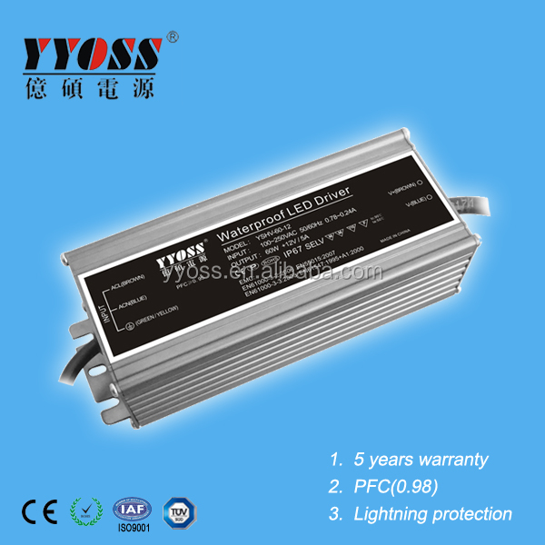60w led driver waterproof with active PFC(0.95),EMC standards 5 years warranty