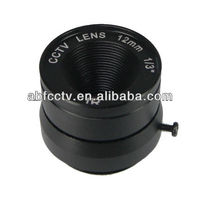 High resolution fixed focus 12.0mm fixed iris camera mount cctv lens