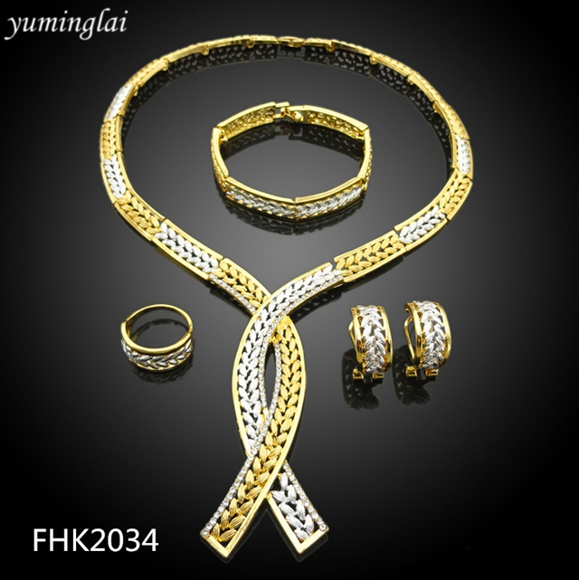 Two tone costume gold jewelry half set