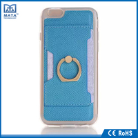 Fashional finger ring design PU / PC leather stand case for iphone 6S