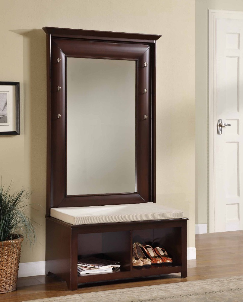 Mirror Hall Tree Entryway Wooden Storage Bench