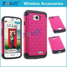 High Selling Cases And Accessories Hybrid Dual Layer Diamond Cas FOR LG optimus L70 Ring Cover & Soft Silicone Case