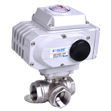 Q614 5F series T or L type electric actuated stainless steel 3 way ball valve