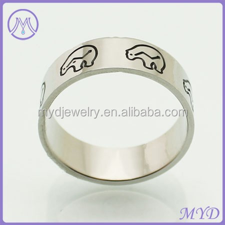 polar bear black enameled animal stainless steel ring