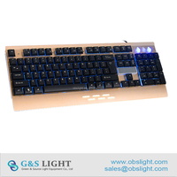 New Design Integrated Waterproof PC Keyboard Ergonomics Style LED Backlight Gaming Keyboard