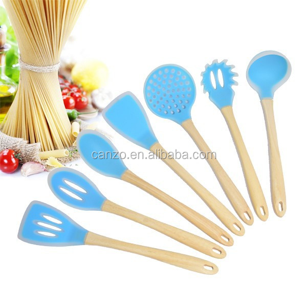 Kitchen Utensils Product ~ Silicone kitchen utensils with wood handle of cooking