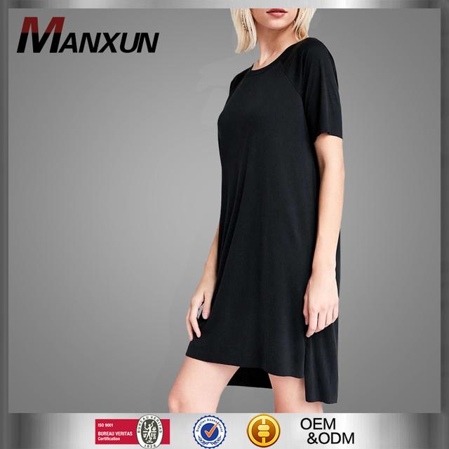 Ladies Casual 100 % Cotton Shirt Dress Plain Black Knee Length Sweatshirt Dress Irregular T Shirt Dresses