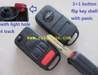 New Uncut Flip Replacement Remote Key Shell FobCase 3+1 Button for Mer (with light hole 4 track)