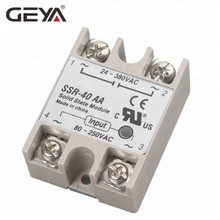 GEYA SSR 40A Solid State Relay AC to AC Input 80-250VAC Load Voltage 24-380VAC SSR Module