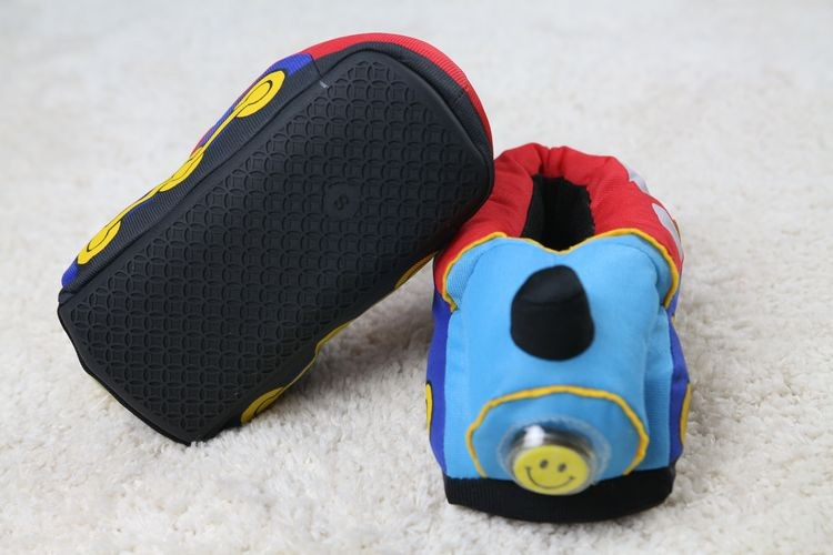 OEM children kids cool light up plush car slippers shoes