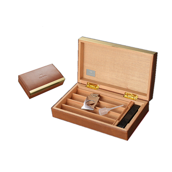 High-End Natural PU Leather Covered Wood Humidor