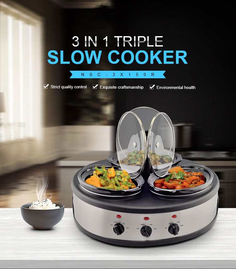3in1 Cooking System with Lid Holders Dual Crock Silver and Black Individual Heat Control Dipper Triple Slow Cooker Buffet Warmer