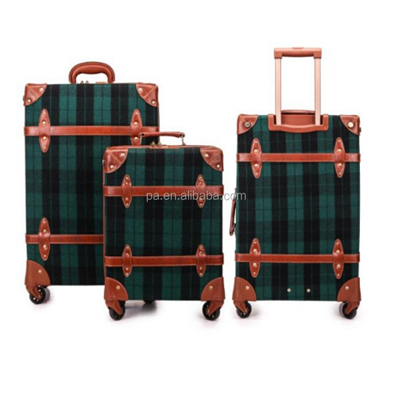 PU Leather Material Old Style Looking Vintage Luggage Suitcase Trunk