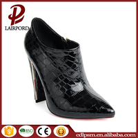Pointed toe black snakeskin women and lady red bottom high heels shoes