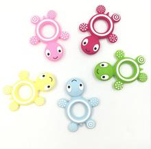 Leatch soft toy turtles silicone baby teether