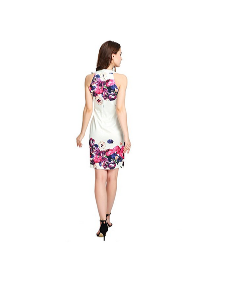 China Product Small Quantity Women Summer Sleeveless Mini Dress Printed Fit Dress