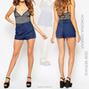 Hot Summer Women Denim Shorts In Mid Wash Blue With Belted High Waist Denim Shorts HSS7926